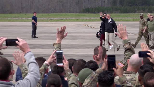 donald j trump and first lady melania trump landed at fort benning's lawson army airfield in air force one on march 8 en route to lee county alabama... - air force one stock videos & royalty-free footage