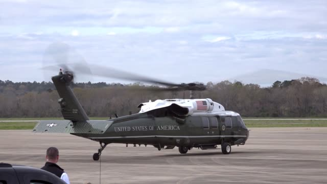 donald j trump and first lady melania trump landed at fort benning's lawson army airfield in air force one on march 8 en route to lee county alabama... - fort benning video stock e b–roll