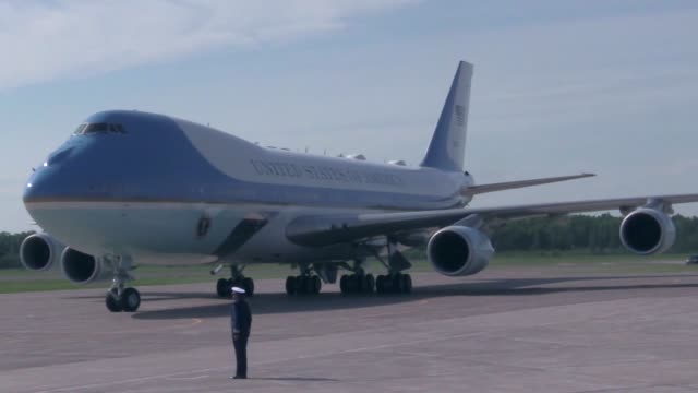 donald j trump president of the united states of america arrives on air force one at the 148th fighter wing minnesota air national guard - bodyguard stock videos & royalty-free footage