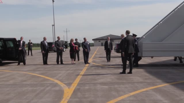 Donald J Trump President of the United States of America arrives on Air Force One at the 148th Fighter Wing Minnesota Air National Guard
