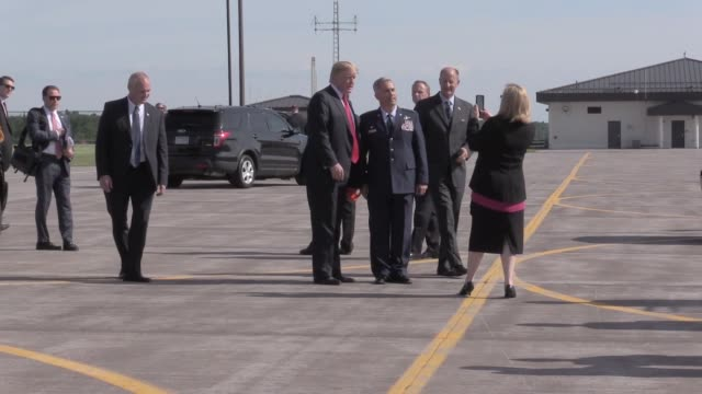 donald j trump, president of the united states of america, arrives on air force one at the 148th fighter wing, minnesota air national guard. - air force stock videos & royalty-free footage