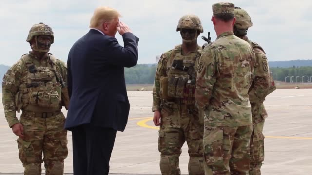 donald j trump receives an air assault and gun raid demonstration and howitzer sling-load operation by 10th combat aviation brigade and infantry and... - army stock videos & royalty-free footage