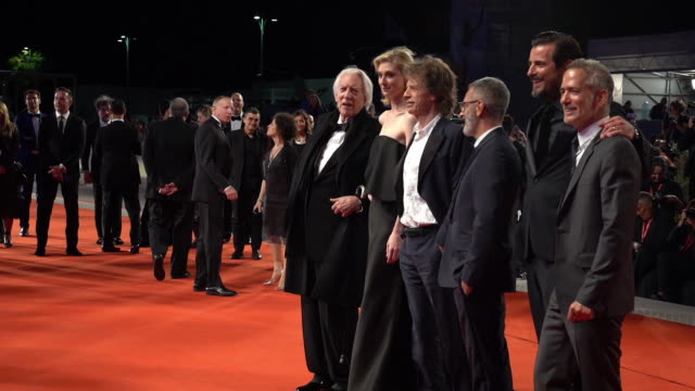 donald sutherland elizabeth debicki mick jagger giuseppe capotondi claes bang liz louisjensen at 'the burnt orange heresy' red carpet arrivals 76th... - 76th venice film festival 2019点の映像素材/bロール