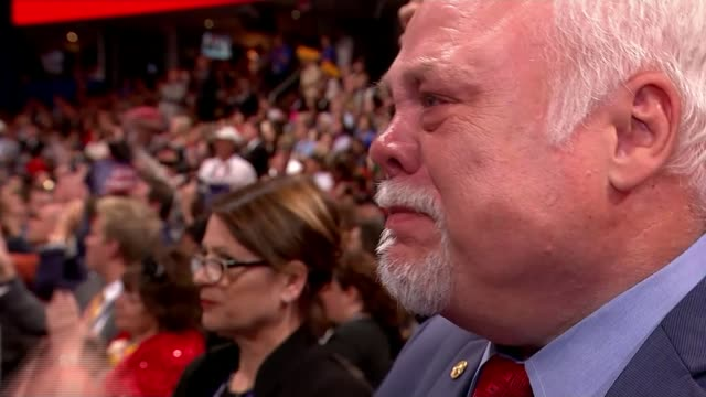 donald trump accepts nomination at republican national convention delegate looking very emotional woman wearing comedy glasses in the colours of the... - nomination stock videos & royalty-free footage