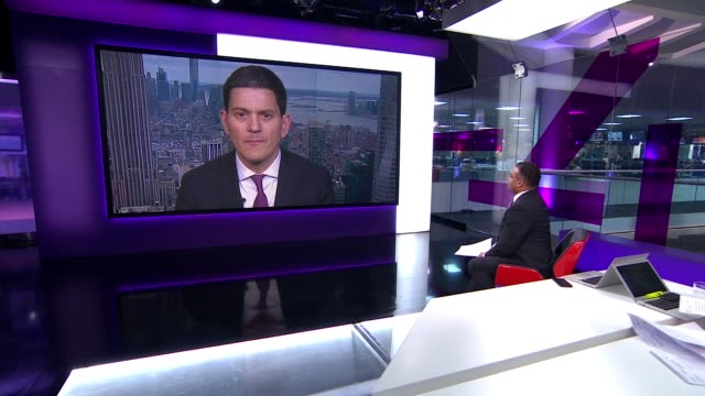 Donald Trump accused of racism over alleged immigration remarks ENGLAND London GIR INT David Miliband 2 WAY interview from New York SOT/ Corey...