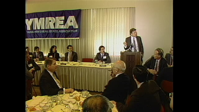 donald trump addresses the young men's real estate association in new york city - 1985 stock videos & royalty-free footage