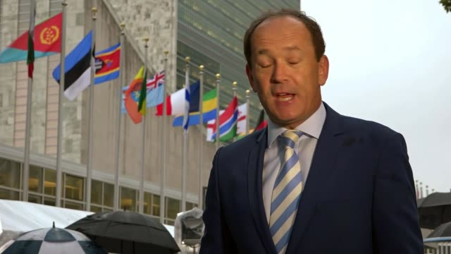 Donald Trump addresses United Nations General Assembly USA New York United Nations Headquarters EXT International flags flying outside UN...