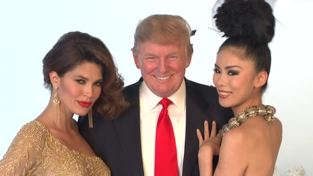 donald trump and former miss universe beauty queens at the donald trump poses with former miss universe beauty queens for iconic photoshoot with... - beauty contest stock videos & royalty-free footage