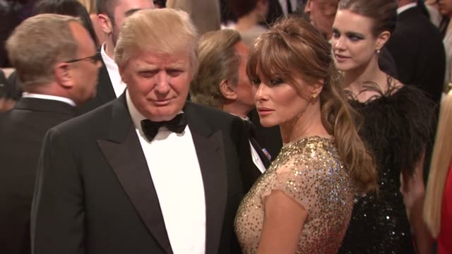 donald trump and melania knausstrump at the 'alexander mcqueen savage beauty' costume institute gala at the metropolitan museum of art at new york ny - melania trump stock videos & royalty-free footage
