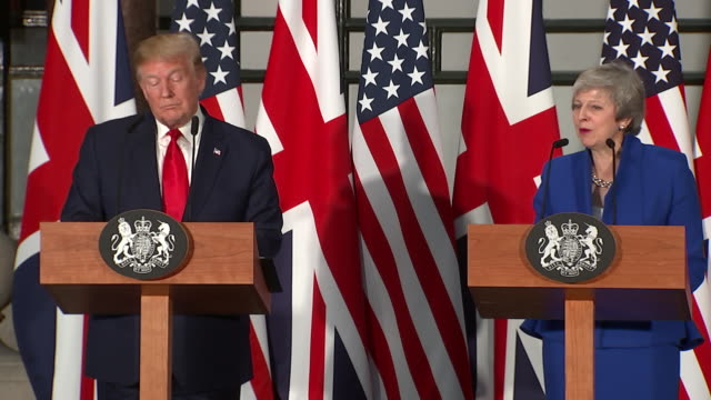 donald trump and theresa may joking about the time he advised her to sue the eu - politics stock videos & royalty-free footage