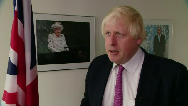 stockvideo's en b-roll-footage met donald trump arrives at united nations general assembly; new york city: boris johnson mp interview sot - re rohingya - channel 4 news