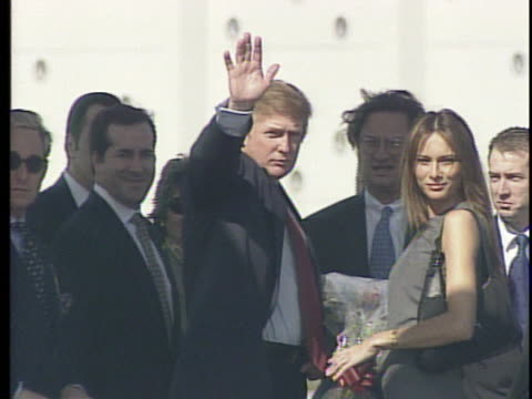 donald trump arrives in miami to discuss the cuban embargo and other topics as he feels out the waters for a potential presidential run - melania trump stock videos & royalty-free footage