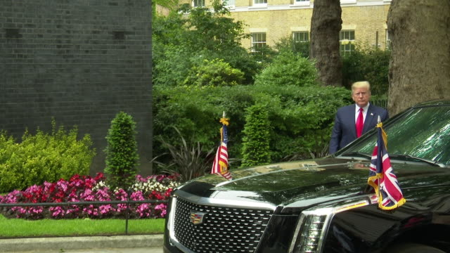 donald trump arriving at a visit to 10 downing street at donald trump uk visit on june 4 2019 in london united kingdom - donald trump us president stock videos and b-roll footage
