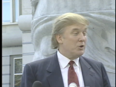 stockvideo's en b-roll-footage met donald trump arriving at his sister maryanne trump barry's induction into the united states court of appeals gives commentary on candidate pat... - 1990 1999