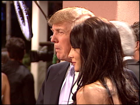 donald trump at the night of 100 stars oscar gala at the beverly hilton in beverly hills california on february 29 2004 - 2004 stock videos and b-roll footage