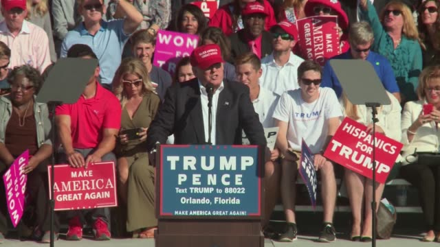donald trump campaigns in orlando florida in the waning days of election 2016 - elezioni generali video stock e b–roll