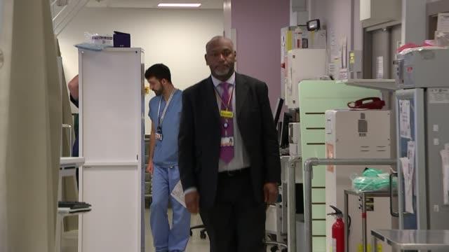 Donald Trump comments on London knife violence at NRA speech T080218011 / London Royal London Hospital INT Martin Griffiths walking along hospital...