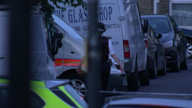 Donald Trump criticises London Mayor Sadiq Khan over London murders ENGLAND London FOCUS police cordon and forensics tent DAY Police officer along...