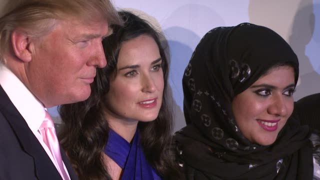 Donald Trump Demi Moore and guest at the Nakheel and Donald J Trump Introduce The Trump International Hotel Tower Dubai at New York NY