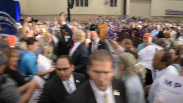 Donald Trump entering rally speaking and leaving