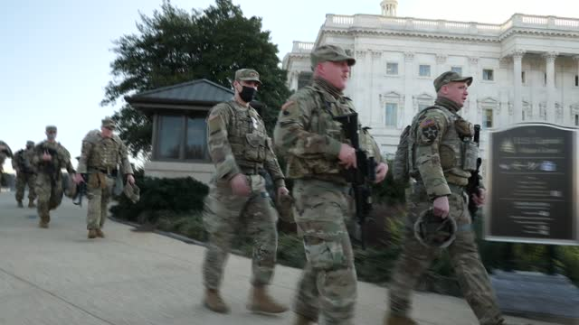 donald trump facing second impeachment: national guard at capitol hill gvs; usa: washington dc: capitol hill: ext various shots of troops from the us... - politics stock videos & royalty-free footage