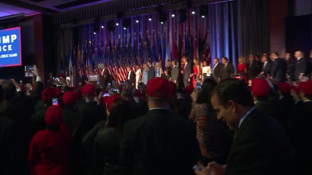 stockvideo's en b-roll-footage met donald trump gives victory speech after winning presidential election at new york city's hilton hotel in the early morning of nov. 9, 2016. - verkiezing