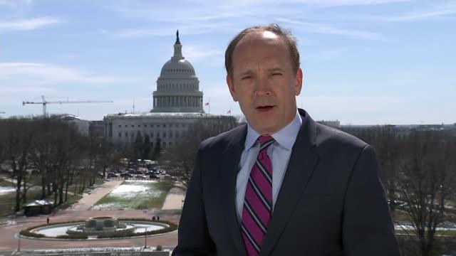 Donald Trump hits China with tariffs raising the prospect of a trade war Washington DC EXT Reporter to camera