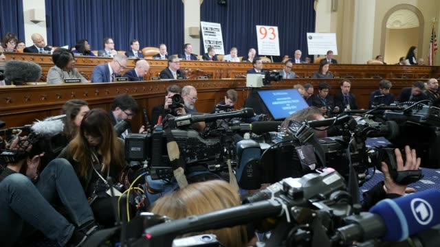 donald trump impeachment inquiry begins first public hearings; usa: washington dc: capitol hill: int press camera operators side view witnesses at... - court hearing stock videos & royalty-free footage