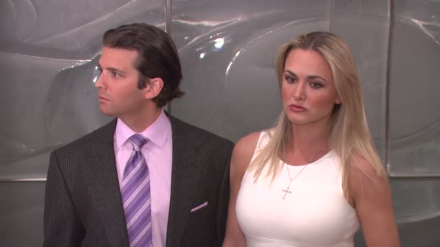 donald trump jr and vanessa trump at the finale of 'the celebrity apprentice' at rockefeller center in new york new york on march 27 2008 - vanessa haydon stock-videos und b-roll-filmmaterial
