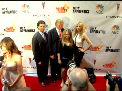 Donald Trump Jr Donald Trump Tiffany Trump and Ivanka Trump at the 'The Apprentice' Season Finale at LA Mart in Los Angeles California on June 5 2006
