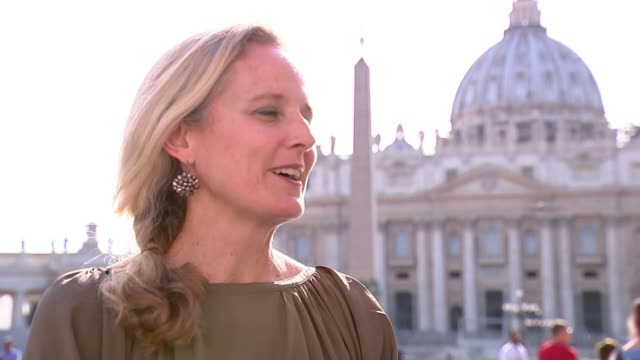 donald trump meets pope francis nicole winfield interview sot cutaway reporter - pope stock videos & royalty-free footage