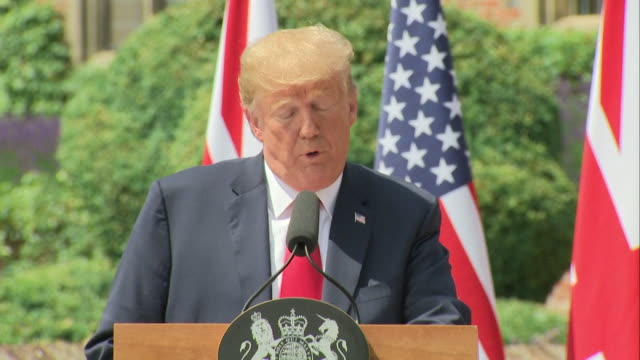 donald trump saying 'whatever you do it's ok with me whatever your decision' to theresa may over brexit negotiations - president trump stock videos and b-roll footage