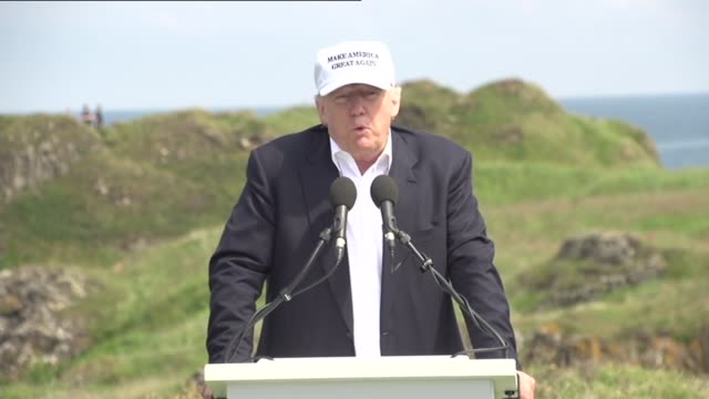 donald trump scotland visit donald trump speech sot thanks ralph thanks son eric and contractors reviews have been great eric trump speech sot thanks... - president trump stock videos and b-roll footage