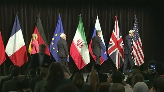 Donald Trump set to abandon nuclear deal with Iran T14071510 / TX Vienna INT John Kerry Philip Hammond MP Javad Zarif and Federica Mogherini arriving...