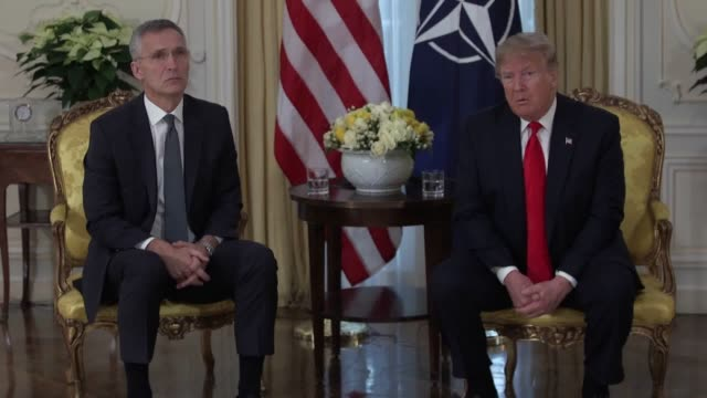 donald trump slams french president macron for 'nasty' and 'insulting' comments about nato he says 'nobody needs nato more than france' president... - 残酷点の映像素材/bロール