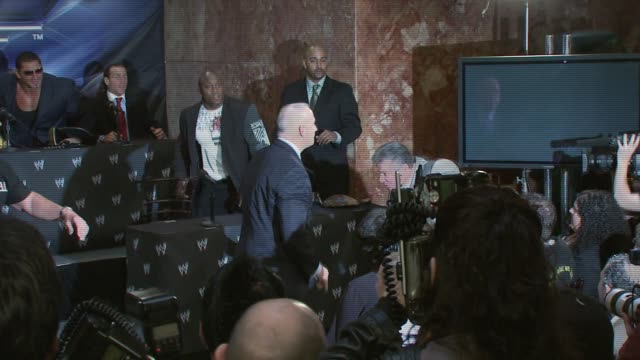 Donald Trump slaps Vince McMahon at the Donald Trump and World Wrestling Entertainment News Conference for WrestleMania 23 at Trump Towers in New...