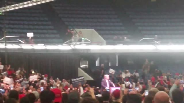 Donald Trump speaks to a packed house at his rally in Anaheim Trump talks about building the wall between the US/Mexico border and statistics on...