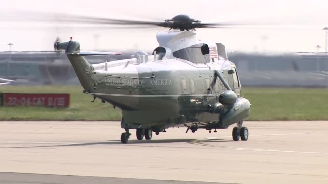 day one air force one arrives at stansted airport and marine one departs england essex stansted airport ext marine one helicopter and escort taxiing... - helicopter stock videos & royalty-free footage