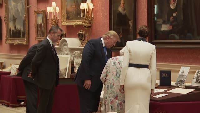 day one queen and trump visit exhibition at buckingham palace england london buckingham palace royal gallery int ivanka trump and her husband jared... - laughing stock videos & royalty-free footage