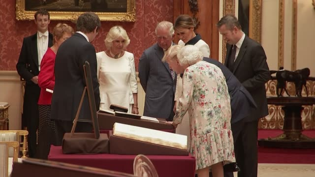 day one queen and trump visit exhibition at buckingham palace england london buckingham palace royal gallery int queen elizabeth ii viewing... - state visit stock videos & royalty-free footage