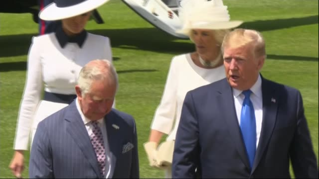 Day One Trump family arrives in London / visits Buckingham Palace Buckingham Palace London UK marine one helicopter landing and Donald Trump and...