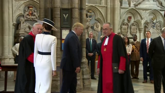 donald trump state visit: day one: westminster abbey visit; uk, london, westminster abbey: us president donald trump and first lady melania trump lay... - tomb of the unknown warrior westminster abbey stock videos & royalty-free footage