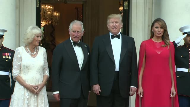 donald trump state visit: day two: piers morgan interviews trump / winfield house banquet; england: london: regent's park: winfield house: ext... - state dinner stock videos & royalty-free footage