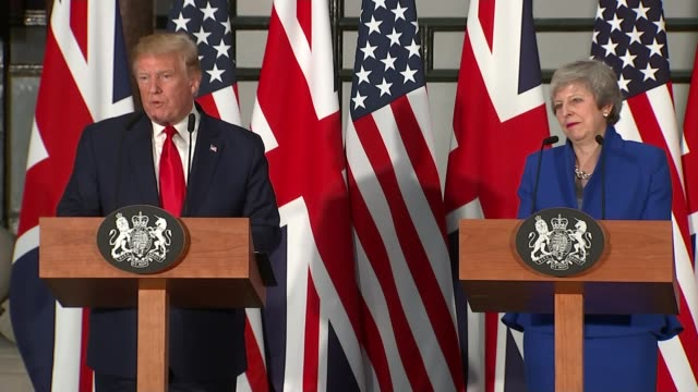 day two trump and theresa may hold joint press conference downing street uk donald trump speaking to press england downing street int jeremy hunt mp... - state visit stock videos & royalty-free footage