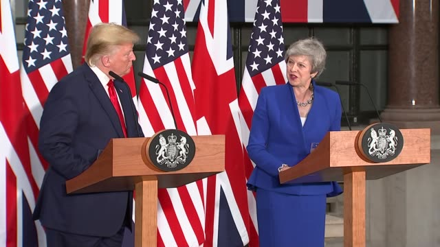 donald trump state visit: day two: trump and theresa may hold joint press conference; england: london: foreign and commonwealth office: int donald... - president stock videos & royalty-free footage