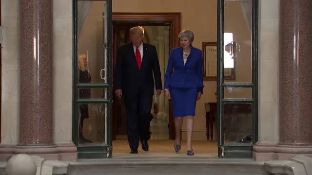 day two trump and theresa may hold joint press conference england london foreign and commonwealth office int audience waiting including press... - donald trump us president stock videos and b-roll footage
