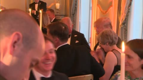 donald trump state visit: day two: winfield house banquet interiors; england: london: regent's park: winfield house:inttheresa may mp seated at... - donald trump us president stock videos & royalty-free footage