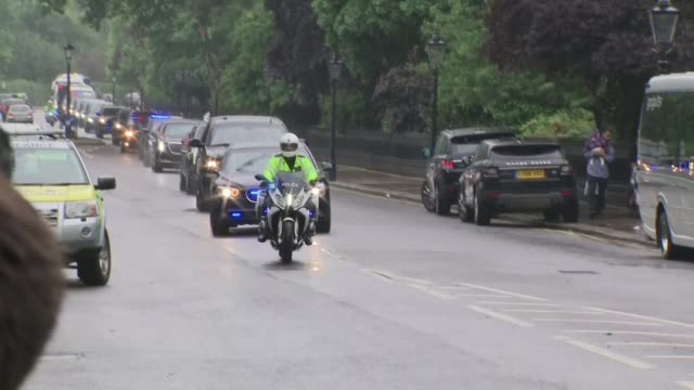 motorcade returns to winfield house england london regent's park winfield house police stopping traffic / donald trump's motorcade along through... - motorcade stock videos & royalty-free footage