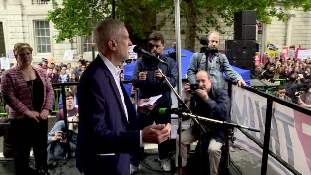 protests jeremy corbyn speech cutaways england london westminster ext jeremy corbyn mp speech cutaways sot - jeremy corbyn stock videos & royalty-free footage