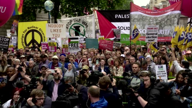 donald trump state visit: protests: jeremy corbyn speech cutaways; england: london: westminster: ext jeremy corbyn mp speech cutaways sot - jeremy corbyn stock videos & royalty-free footage